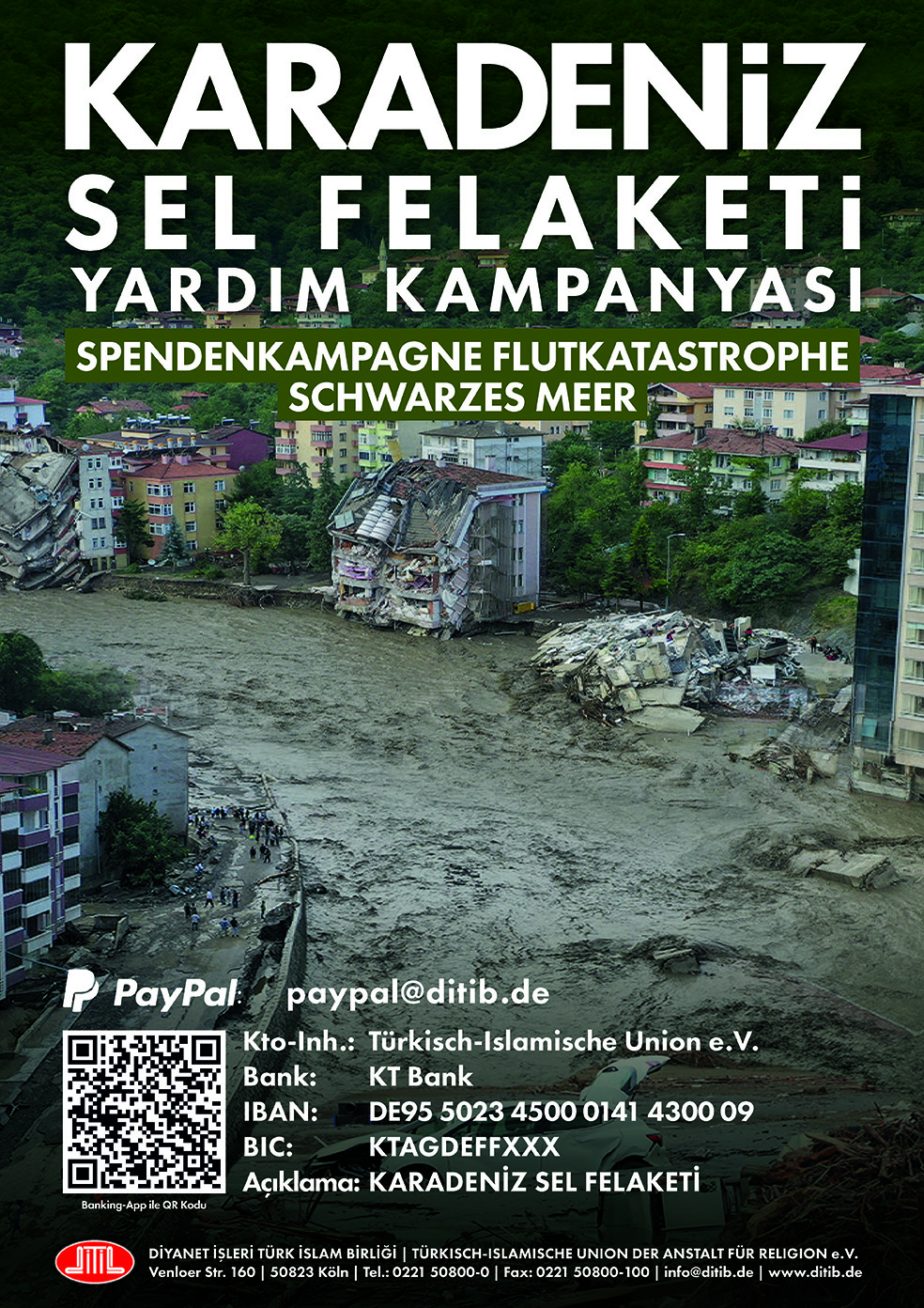DİTİB, Karadeniz bölgesi sel felaketi için yardım kampanyası başlattı